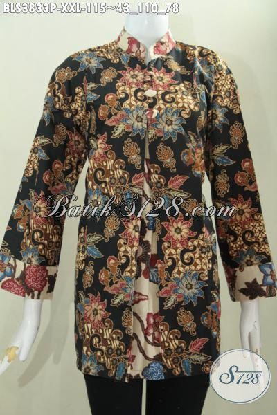 Busana Kerja Batik Formal Kwalitas Halus Motif Bagus, Blus Batik 3L Model Pias Kancing Depan Proses Print Spesial Wanita Gemuk [BLS3833P-XXL]