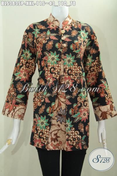 Update Busana Batik Fashion Buat Wanita Gemuk Agar Tampil Makin Modis Dengan Blus Batik Pias Buatan Solo Proses Print Kwalitas Istimewa Harga 100 Ribuan, Size XXL