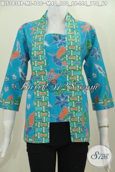 Jual Blus kutubaru Warna Biru Muda, Busana Batik Cewek Model Trendy Baha Halus Dan Adem Nyaman Di Pakai, Motif Proses Print Harga 100 Ribuan, Size M – L