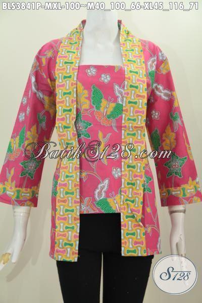 Baju Batik Blus Model Kutubaru Warna Merah Jambu, Busana Wanita Feminim Motif Bunga Dan Kupu Proses Printing Cocok Buat Santai Dan Formal Tampil Makin Memikat [BLS3841P-M]