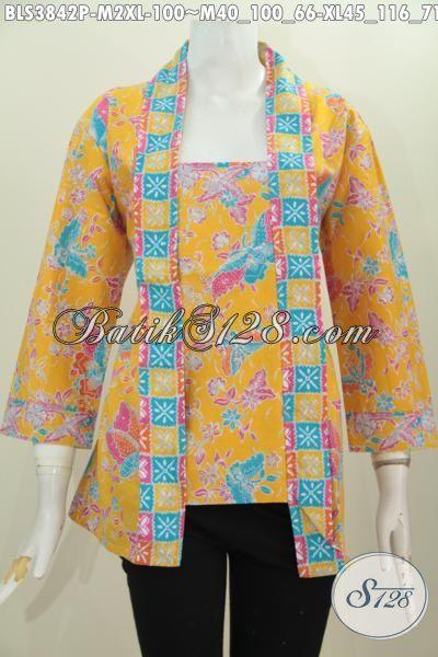 Blus Batik Kuning Motif Bunga Model Kutubaru, Pakaian Batik Wanita Masa Kini Untuk Tampil Modis Dan Gaya, Berbahan Batik Printing Solo Murah Kwalitas Mewah, Size M – XL