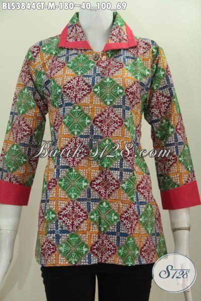 Jual Online Produk Busana Batik Wanita Terbaru, Blus Batik Plisir Kerah Polos Desain Bagus Bahan Halus Motif Trendy Bikin Penampilan Cewek Makin Ciamik, Size M
