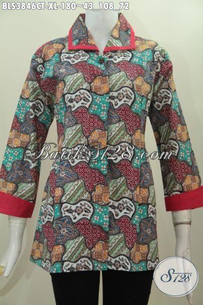 Baju Blus Plisir Kerah Polos Buatan Solo Trend Pakaian Kerja Terbaru Wanita Kantoran, Produk Busana Batik Halus Proses Cap Tulis Istimewa Tampil Berkharisma, Size XL