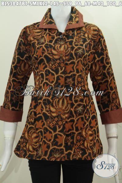 Pakaian Batik Wanita Model Terbaru Motif Klasik Blus