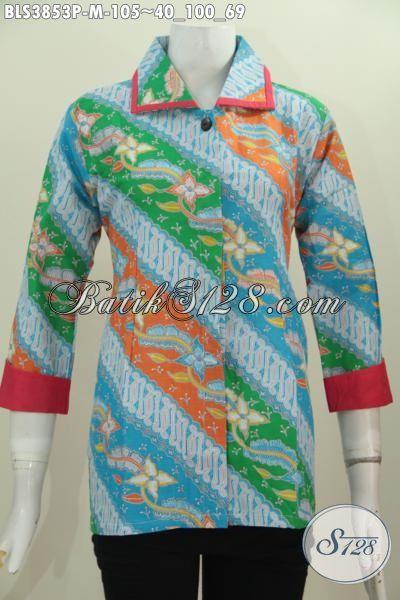 Baju Wanita Muda Terkini Berbahan Batik Printing Motif Parang Bunga Warna Keren, Blus Batik Plisir Proses Printing Trend Mode Terkini Yang Elegan Dan Mewah Dengan Harga Murah Meriah, Size M