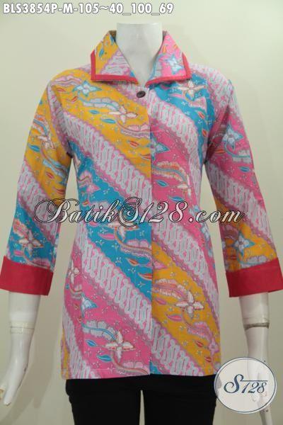 Jual Baju Blus Batik Plisir Kwalitas Bagus Harga Murah, Pakaian Batik Formal Warna Cewek Banget Motif Berkelas Proses Printing, Size M