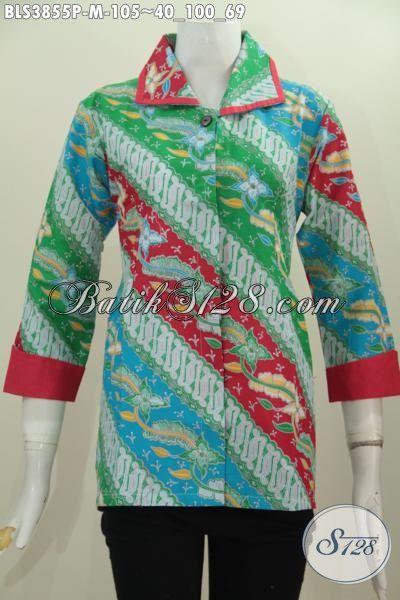 Produk Baju Blus Batik Halus Dan Modis Proses Printing, Pakaian Batik ELegan Model Plisir Buatan Solo Untuk Cewek Tampil Anggun Dan Cantik, Size M