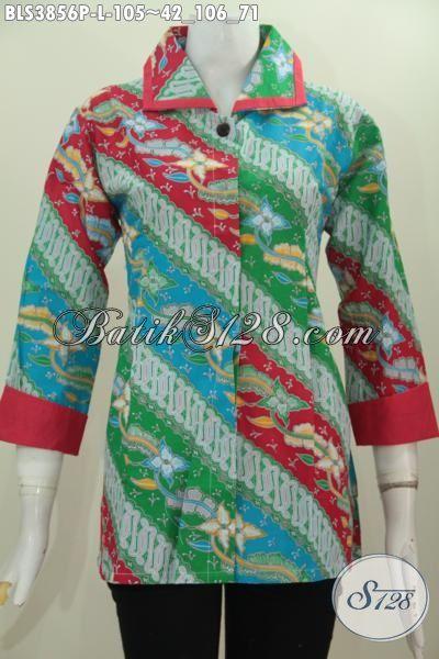 Pakaian Batik Wanita Terbaru Cocok Buat Kerja Dan Acara Resmi, Batik Blus Printing Parang Bunga Warna Terbaru Model Plisir Lebih Berkelas Dan Keren [BLS3856P-L]