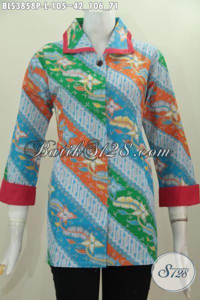 Baju Blus Batik Murmer Kwalitas Mewah Model Plisir Kerah Polos, Busana Formal Warna Trendy Motif Mewah Proses Printing Membuat Wanita Lebih Mempesona, Size L