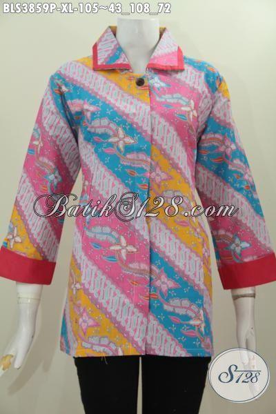 Blus Batik Warna Cerah Kombinasi Motif Parang Bunga, Baju Batik Printing Trendy Desain Elegan Tampil Gaya Dan Modern, Pas Buat Santai Dan Resmi [BLS3859P-XL]