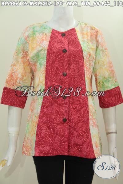 Baju Blus Batik Dua Warna Dengan Model A, Busana Batik Perempuan Masa Kini Proses Cap Smoke Berbahan Halus Lebih Nyaman Di Pakaianya, Size M – L – XL