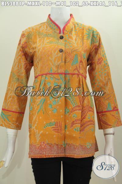 Jual Busana Baitk Blus Plisir Polos, Baju Batik Printing Kerah Shanghai Motif Bagus Buatan Solo Tampil Gaya Dan Keren, Size M , XXL