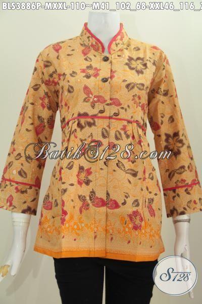 Jual Blus Batik Seragam Kerja Wanita Karir Untuk Tampil Lebih Modis, Baju Batik Kerah Shanghai Plisri Polos Proses Print Kwalitas Halus Harga Terjangkau, Size M – XXL