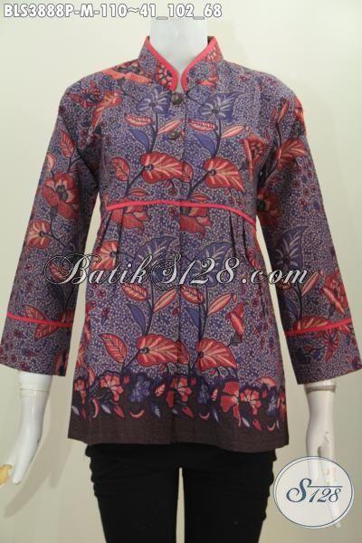 Jual Busana Busana Batik Blus Istimewa Harga Terjangkau Model Kerah Shanghai, Pakaian Batik Printing Plisir Polos Motif Bagus Banget Cewek Terlihat Cantik Maksimal [BLS3888P-M]