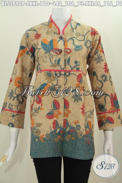 Jual Batik Blus Trendy Kerah Shanghai Plisir Polos Motif Bunga Dan Kupu Proses Print, Baju Batik Santai PErempuan dewasa Tampil Modis Dan Memikat, Size L – XXL