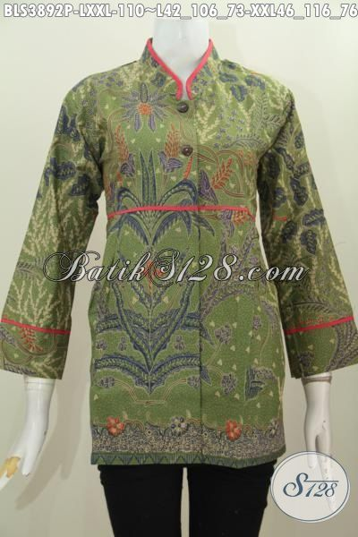 Blus Batik Hijau Elegan Motif Unik Berbahan Halus Proses Print, Pakaian Batik Kerah Shanghai Mewah Harga Murah, Size L – XXL