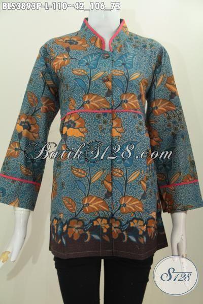 Baju Blus Kerah Shanghai Motif Terbaru, Baju Batik Wanita Plisir Polos Berbahan Halus Proses Printing Kwalitas Istimewa Harga Terjangkau, Size L
