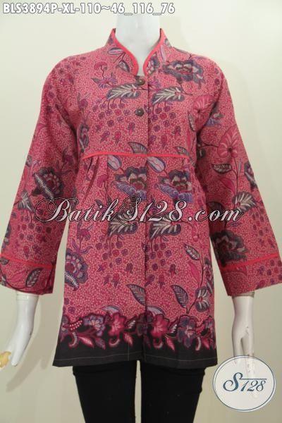 Jual Busana Batik Wanita Online Size XL, Baju Batik Trendy Model Kerah Shanghai Plisir Polos Kwalitas Halus Printing, Baju Batik Berkelas Penampilan Semakin Mewah [BLS3894P-XL]