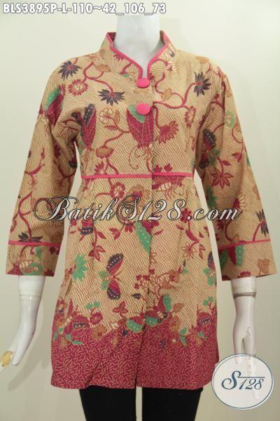 Jual Baju Batik Blus Modern Buatan Solo Yang Bikin Wanita Nampak Cantik Mempesona, Baju Batik Kerah Shanghai Proses Print Motif Bagus Harga Murmer, Size L