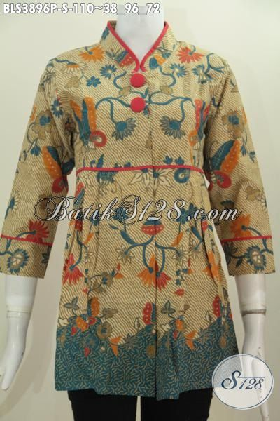 Baju Blus Trendy Kerah Shanghai Plisir Polos Motif Paling Trendy, Pakaian Batik Print Solo Kwalitas Mewah Harga Murah, Size S