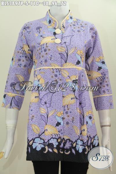 Batik Blus Bunga-Bunga Model Kerah Shanghai, Baju Batik Plisir Polos Warna Ungu Trend Pakaian Wanita Modern Tampil Anggun, Size S