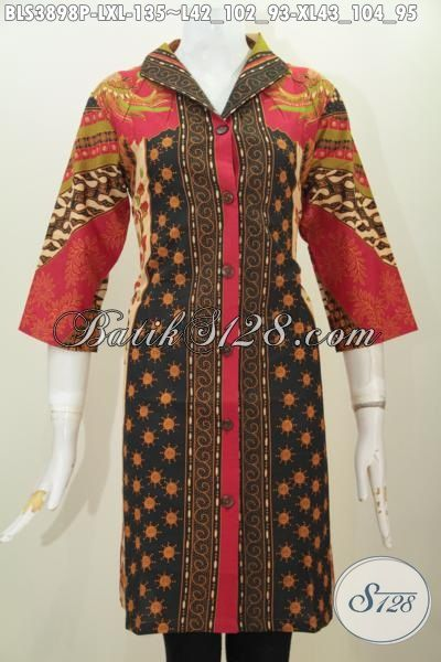 Blus Batik Klasik Elegan Motif Terkini, Baju Batik Printing Model Terbaru Yang Cocok Buat Ke Kantoran Dan Acara Resmi, Size L – XL