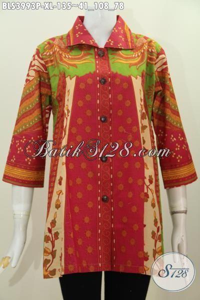 Baju Blus Elegan Motif Proses Printing, Pakaian Batik Jawa Etnik Modis Trend Mode Terbaru Yang Cocok Untuk Seragam Kerja, Size XL
