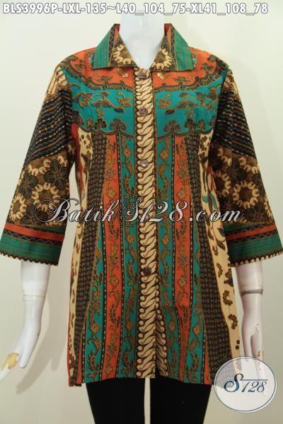 Baju Batik Kerja Terbaru Untuk Wanita Karir, Busana Batik Elegan Kerah Lancip Berbahan Halus Proses Printing Lebih Mewah Dengan Harga Terjangkau, Size L – XL