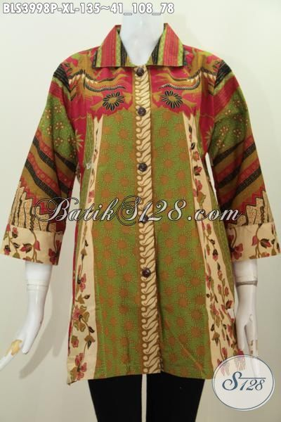Baju Blus Buatan Solo Berbahan Batik Printing Halus Motif Berkelas, Pakaian Bati Kerah Kotak Desain Istimewa Tampil Makin Mempesona, Size XL