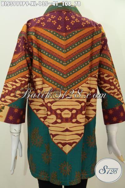 Butik Online Jual Blus Batik Model Terbaru Kerah Kotak Yang Banyak Di Cari, Baju Batik Elegan Desain Premium Harga Mimimum, Size XL