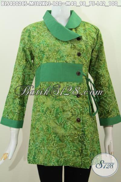 Blus Batik Kerah Polos Warna Hijau Trend Mode Terbaru, Produk Busana Batik Jawa Kwalitas Halus Motif Unik Proses Cap Smoke, Size M – L – XL