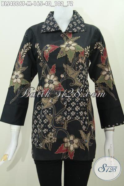 Baju Blus Hitam Elegan Motif Terkini Buatan Solo, Pakaian Batik Tulis Premium Hadir Dengan Harga Sangat Terjangkau, Size M