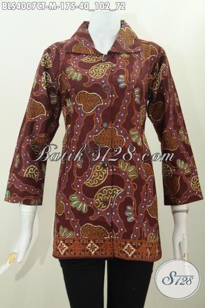 Baju Blus Batik Kerah Kotak Desain Formal Berpadu Warna