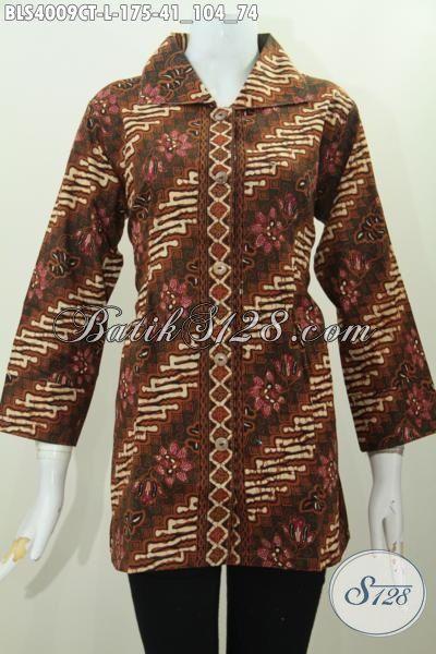 Jual Blus Batik Kerja Modern Klasik Baha Halus Motif Parang Bunga, Pakaian Batik Berkelas Bikin Cewek Terlihat Istimewa, Size L