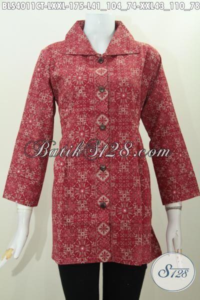 Baju Blus Kerja Kantoran Wanita Karir, Pakaian Batik Halus Desain Terkini Motif Trendy Proses Cap Tulis Harga 100 Ribuan, Size L – XXL