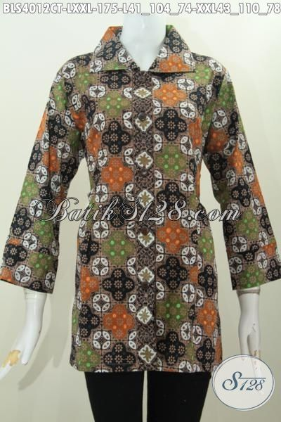 Blus Batik Masa Kini Buat Wanita Muda Dan Dewasa, Baju Batik Solo Model Kerah Kotak Berpadu Motif Dan Warna Keren Tampil Anggun Di Kantor, Size L – XXL