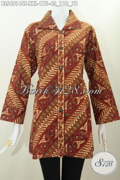 Blus Batik 3L Motif Parang Bunga, Pakaian Batik Warna Elegan Klasik Model Kerah Kotak Cocok Banget Buat Perempuan Berbadan Gemuk, Size XXL