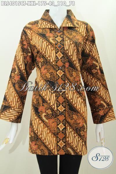 Batik Blus Ukuran Jumbo Motif Klasik Nan Elegan, Baju Batik Jawa Halus Trend Mode Terkini Bikin Wanita Gemuk Tampil Berkelas, Size XXL
