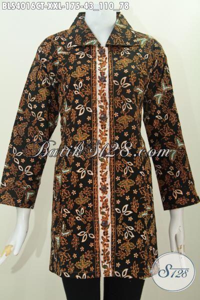 Jual Produk Pakaian Batik Wanita Model Kerah Kotak, Batik Blus Mewah Dan Berkelas Bahan Halus Motif Unik Cap Tulis Tampil Makin Gaya Dan Berkharisma, Size XXL
