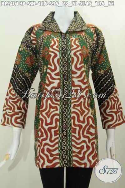 Baju Batik Solo Motif Matahari Desain Formal Bahan Adem Produk