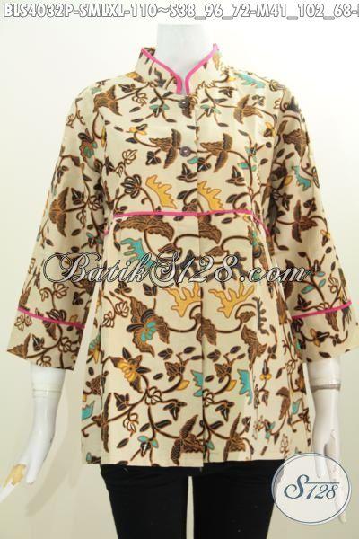 Busana Batik Wanita Model Kerah Shanghai Plisir Polos, Baju Blus Batik Motif Trendy Desain Mewah Tampil Gaya Dengan Harga 100 Ribuan [BLS4032P-L]