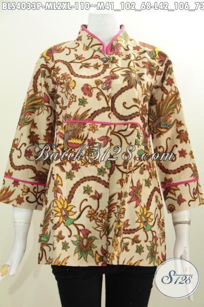 Batik Blus Wanita Muda Dan Dewasa, Pakaian Batik Modern Kerah Shanghai Kwalitas Halus Motif Keren Proses Printing Harga Terjangkau [BLS4033P-L]
