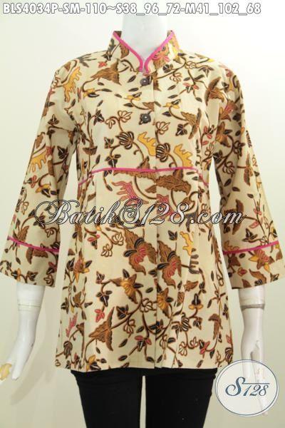 Batik Blus Paling Di Cari Saat Ini, Baju Batik Istimewa Harga Murah, Pakaian Batik Printing Solo Kerah Shanghai Tampil Lebih Berkelas, Size S – M
