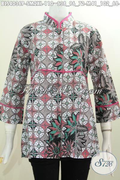 Baju Blus Istimewa Berbahan Batik Printing Halus Dengan Motif Unik Trend Terkini, Baju Batik Kerah Shanghai Plisir Polos Untuk Tampil Lebih Modis Dan Anggun [BLS4036P-M]
