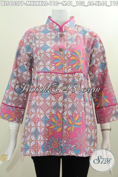 Jual Online Baju Batik Wanita Model Kerah Shanghai Plisir Polos, Baju Blus Batik Motif Trendy Proses Printing Modis Untuk Jalan-Jalan, Size  M , XL – XXL