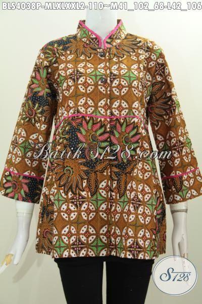 Jual Produk Busana Batik Wanita Model Terkini Bahan Halus Proses Printing, Blus Batik Trendy Untuk Wanita Muda Dan Dewasa Tampil Makin Beda, Size M – L – XL – XXL