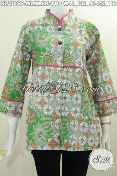 Baju Batik Trendy Model Kerah Shanghai Plisir Polos, Pakaian Batik Wanit Desain Blus Berkelas Motif Unik Printing Solo Berpadu Warna Yang Mewah Cewek Terlihat Makin Trendy, Size M – L – XL – XXL