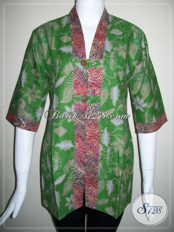 Baju Batik Cantik Asli Solo,Blus BAtik Trendy Wanita Kerja,Model Baju BAtik Kerja Wanita [BLS403P-L]