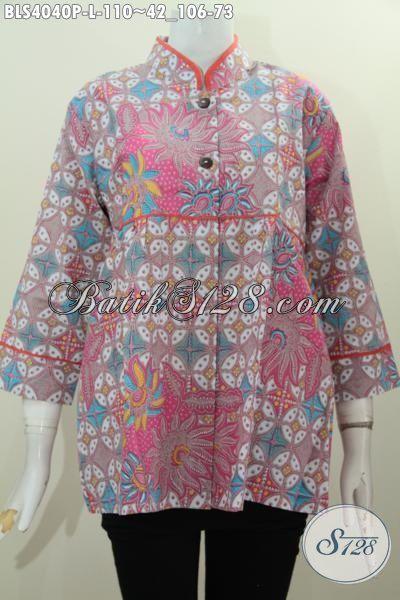 Produk Busana Batik Wanita DI Jual Online, Baju Blus Trendy Kerah Shanghai Kwalitas Bagus Motif Keren, Baju Batik Printing Elegan Wanita Semakin Stylish, Size L