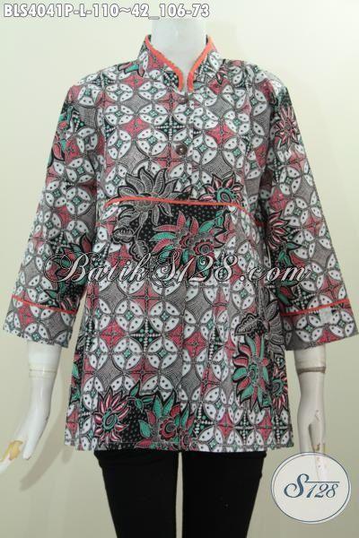 Baju Blus Kerah Shanghai Trend Busana Kerja Wanita Terkini, Pakaian Batik Plisir Polos Motif Bagus Proses Printing Adem Dan Nyaman Di Pakai, Size L